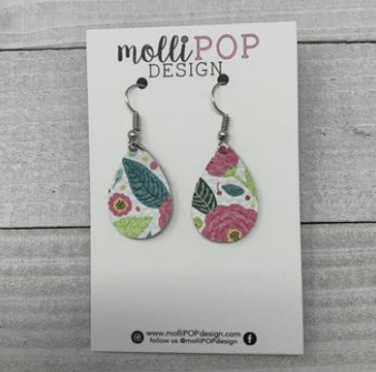 Mini Vibrant Garden Leather Teardrop Earrings