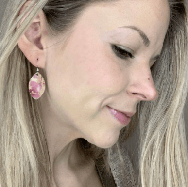 Pink Splash Cork Small Leaf Earrings