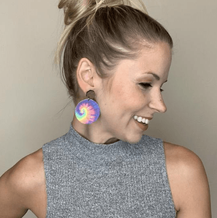 Rainbow Tie-Dye Large Round & Wood Stud Leather Earrings