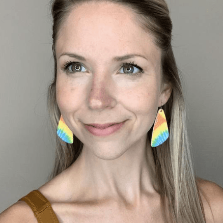 Rainbow Tie- Dye Wedge Leather Earrings