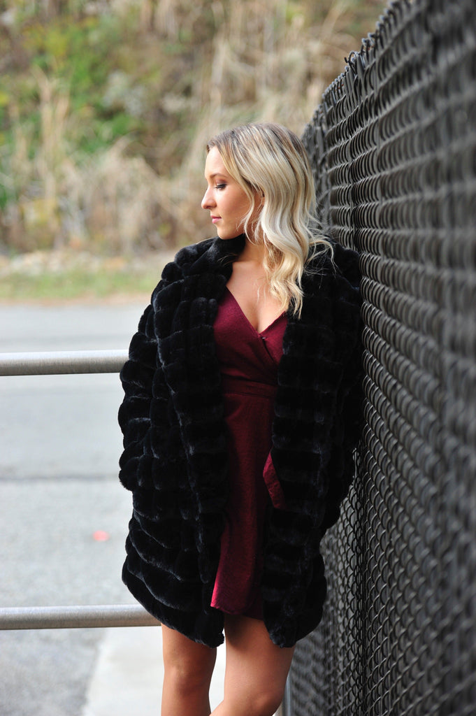 Black Fluffy Faux Fur Coat
