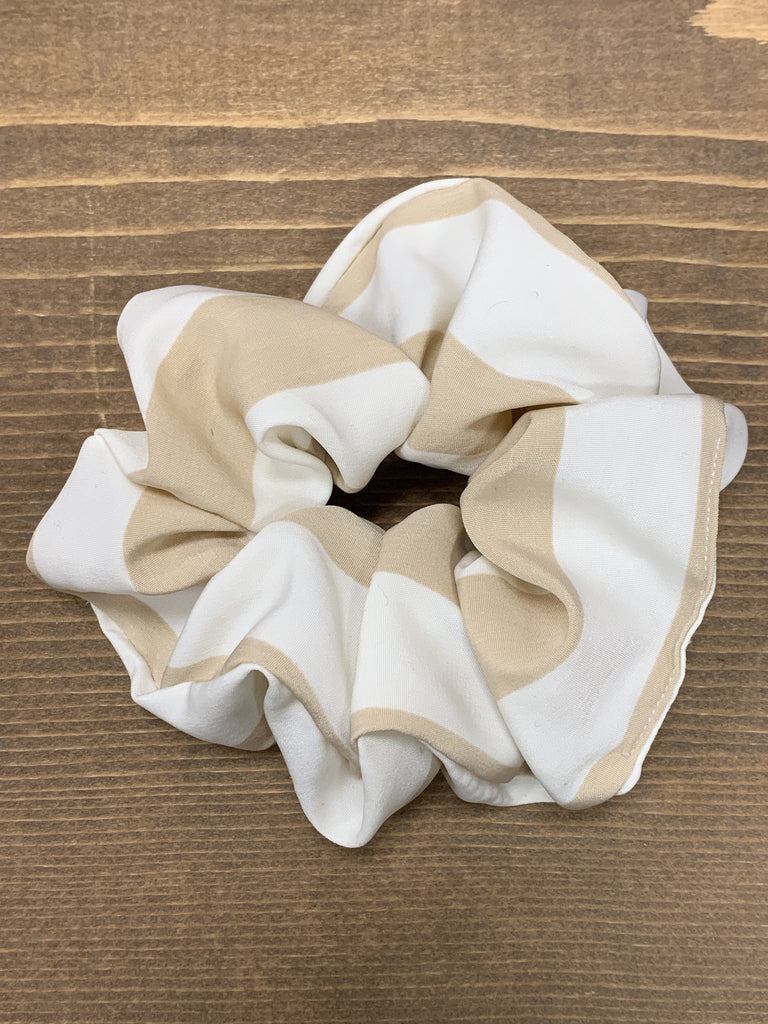 Cream and Beige Scrunchie - Johnathan Michael's Boutique