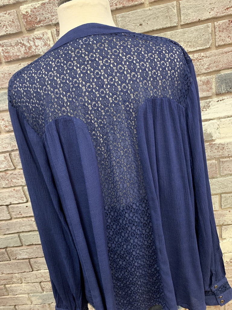 Indigo Lace Blouse