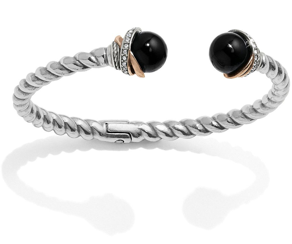 Neptune's Rings Black Agate Open Hinged Bangle JF665A - Johnathan Michael's Boutique