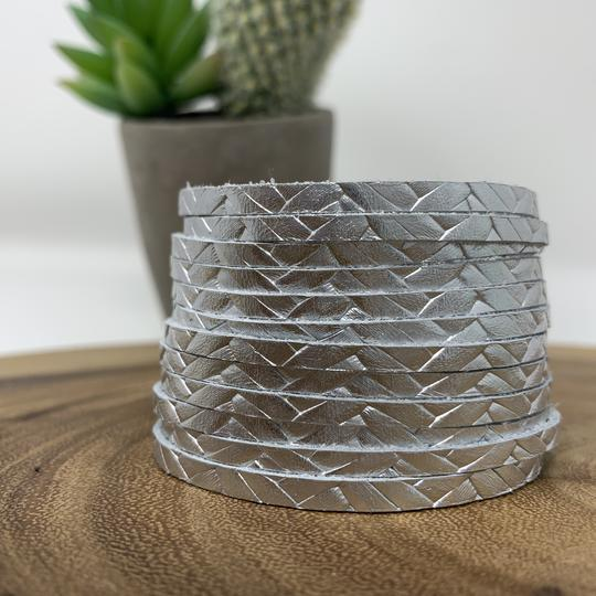 Silver Braided Leather Slit Cuff - Johnathan Michael's Boutique
