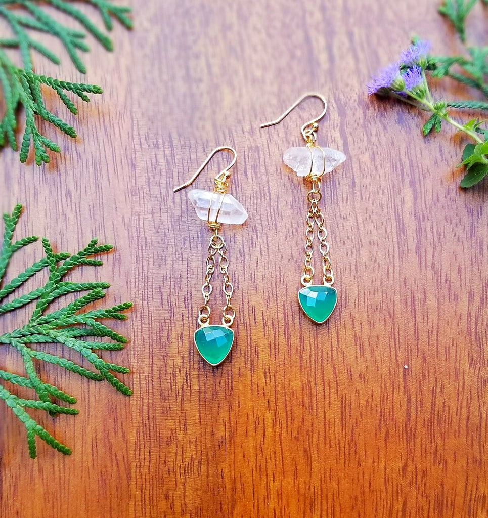 Green Chalcedony and Quartz Earrings