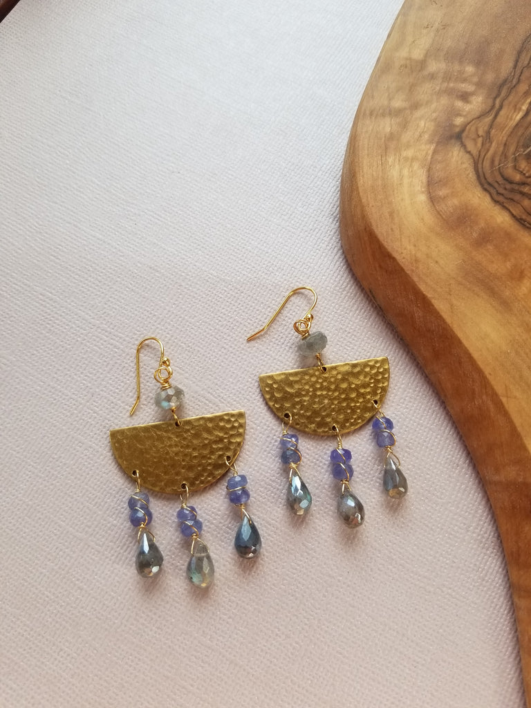 Tanzanite and Labradorite Brass Earrings