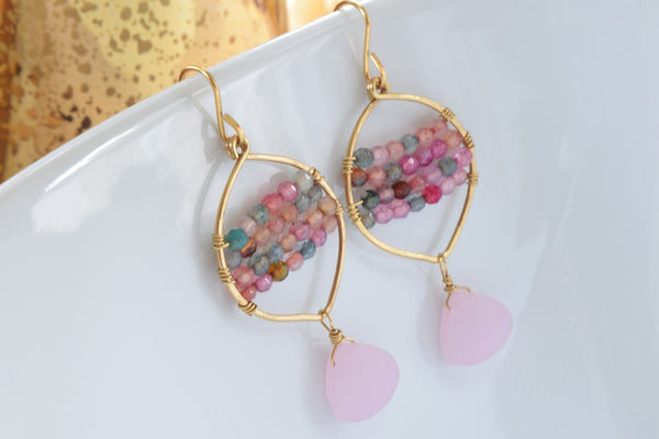 Pink Agate and Sea Glass Earrings