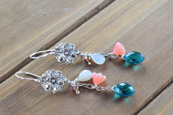 Teal Quartz and Moonstone Flower Earrings (Silver tone)