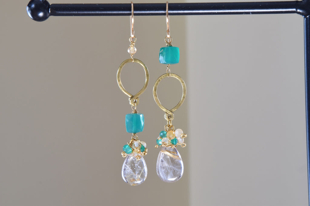 Asymmetrical Gold Rutilated Quartz Earrings