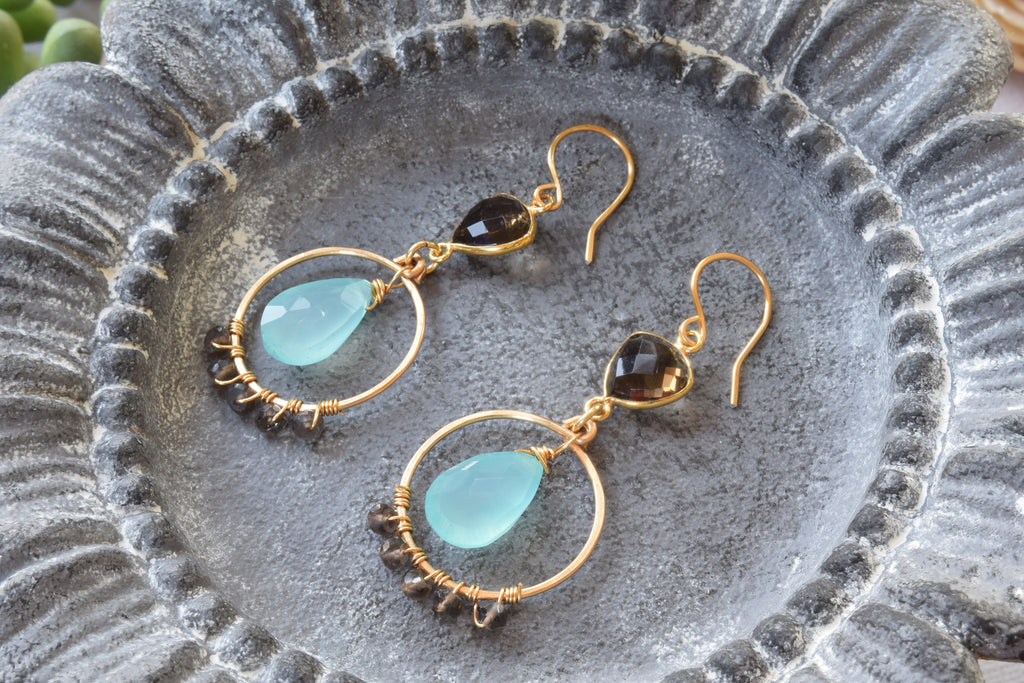 Blue Chalcedony and Brown Quartz Earrings