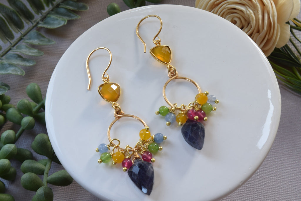 Iolite and Yellow Chalcedony Earrings