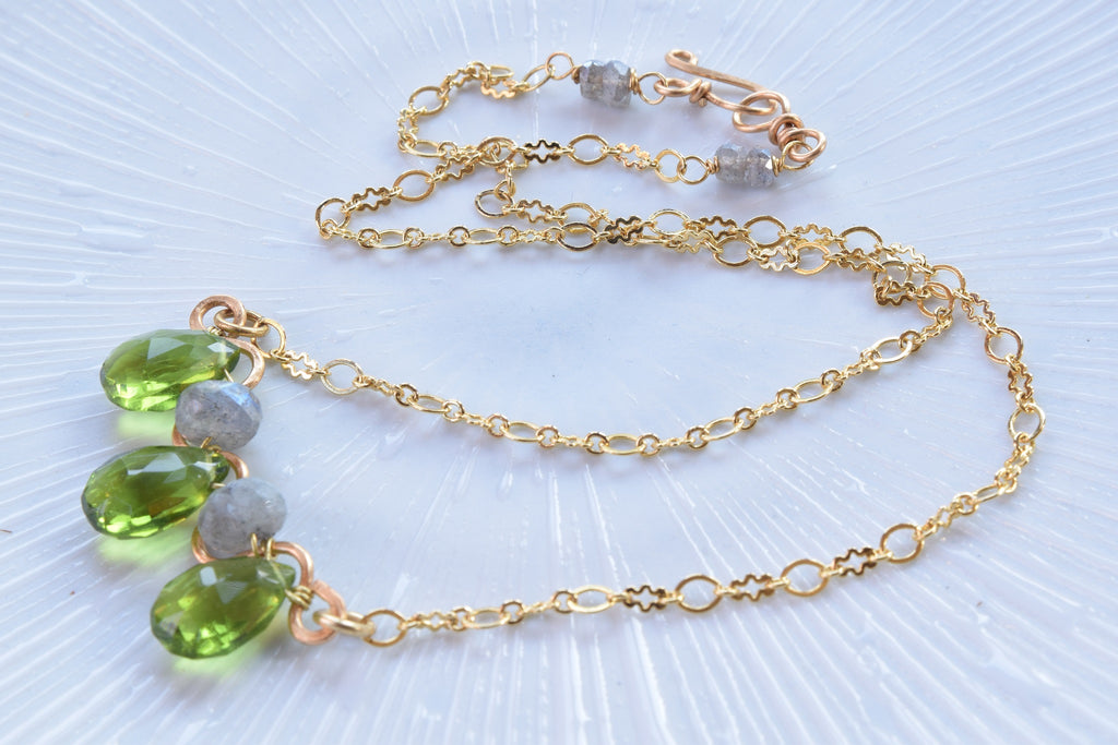 Peridot and Labradorite Quartz Necklace