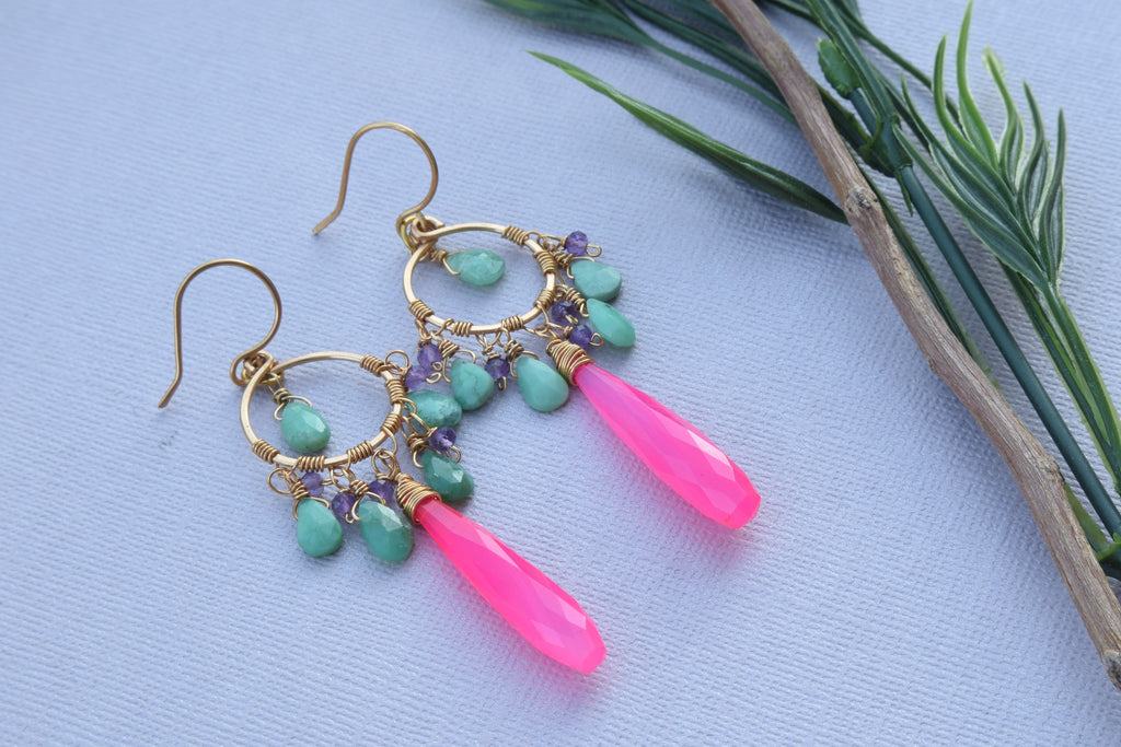Hot Pink Chalcedony Chandelier Earrings