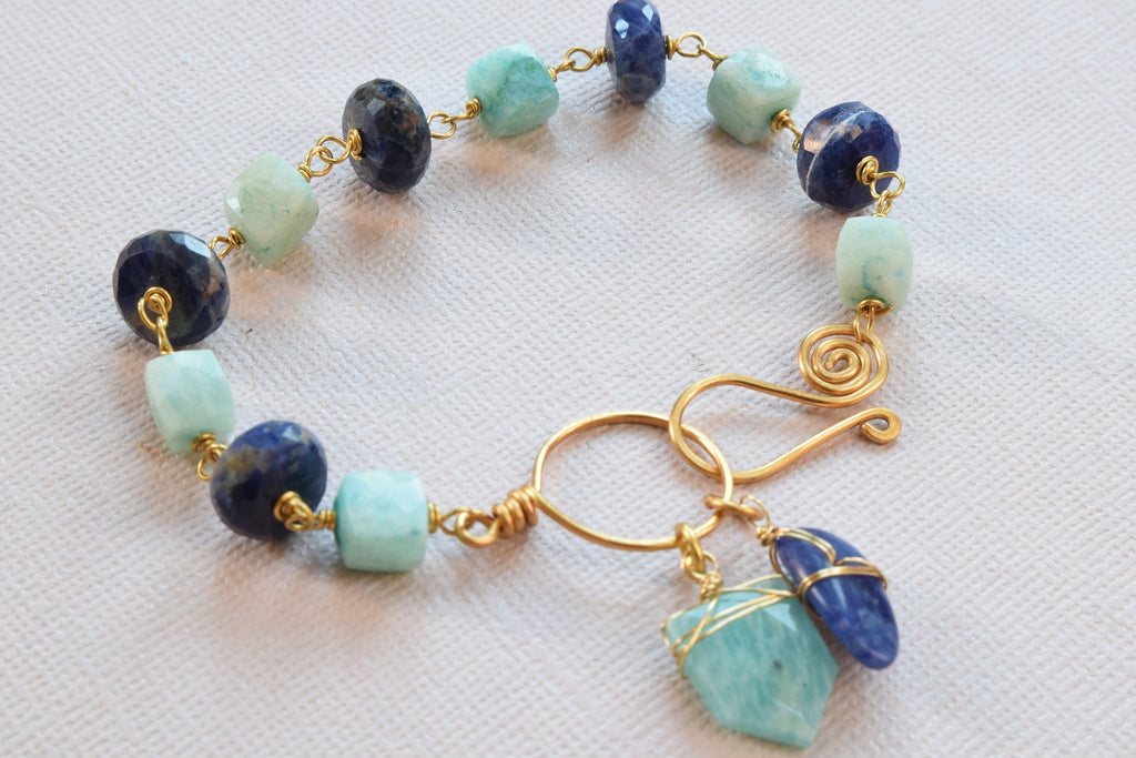 Sodalite and Amazonite Charm Bracelet