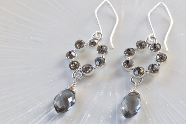 Gray Quartz Silver Earrings