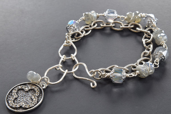 Labradorite and Crystal Double Bracelet