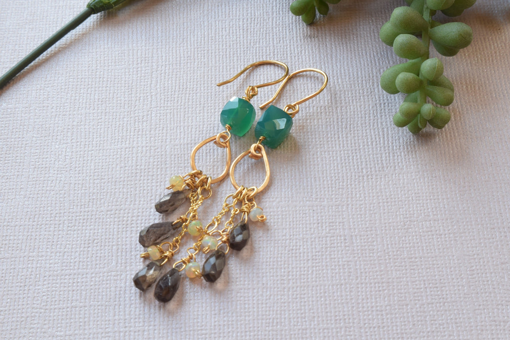 Smoky Quartz and Opal Earrings