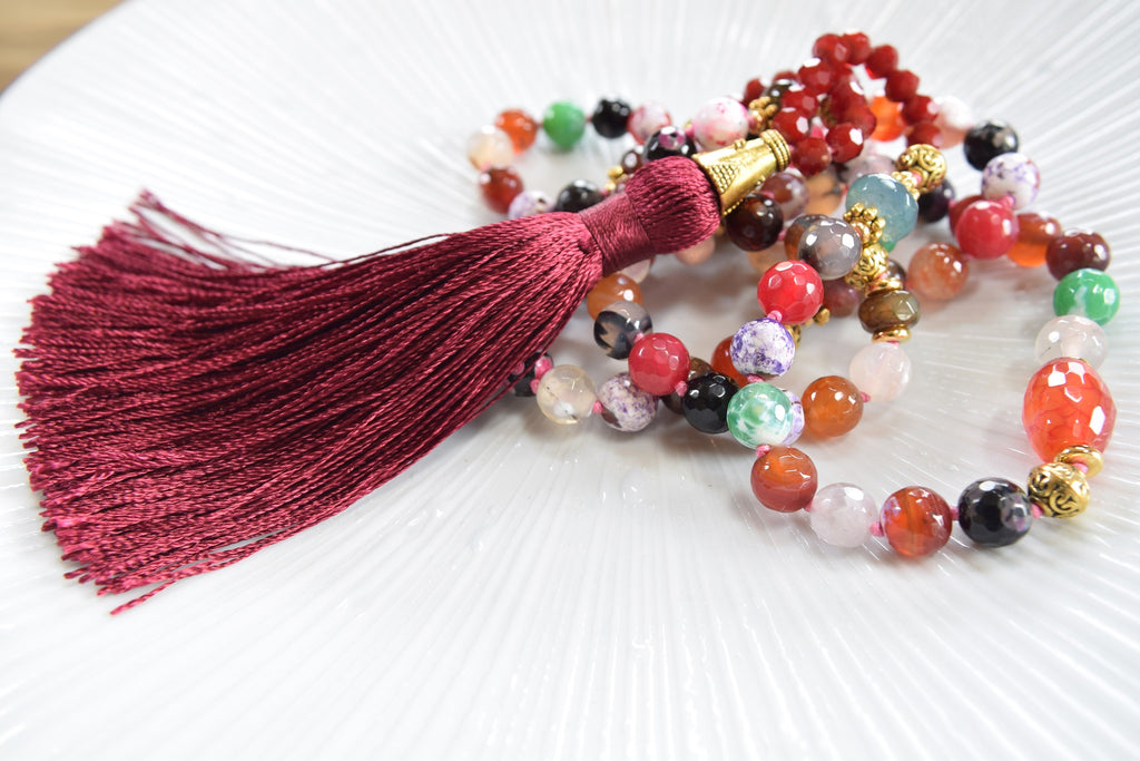 Multi colored Beaded Tassel Necklace