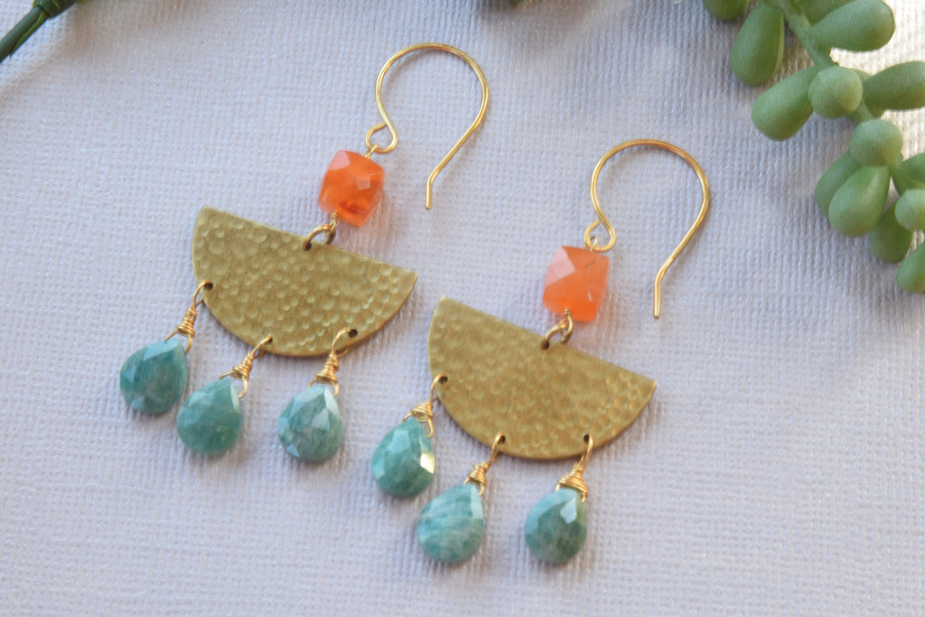 Amazonite and Carnelian Earrings