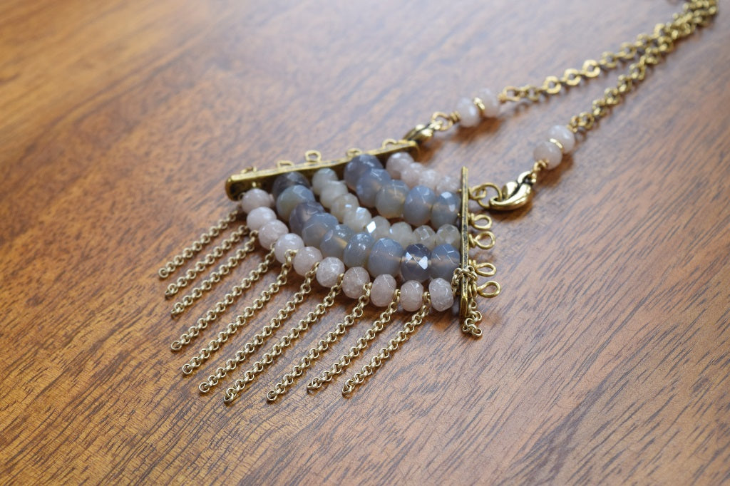 Agate and Crystal Fringe Necklace