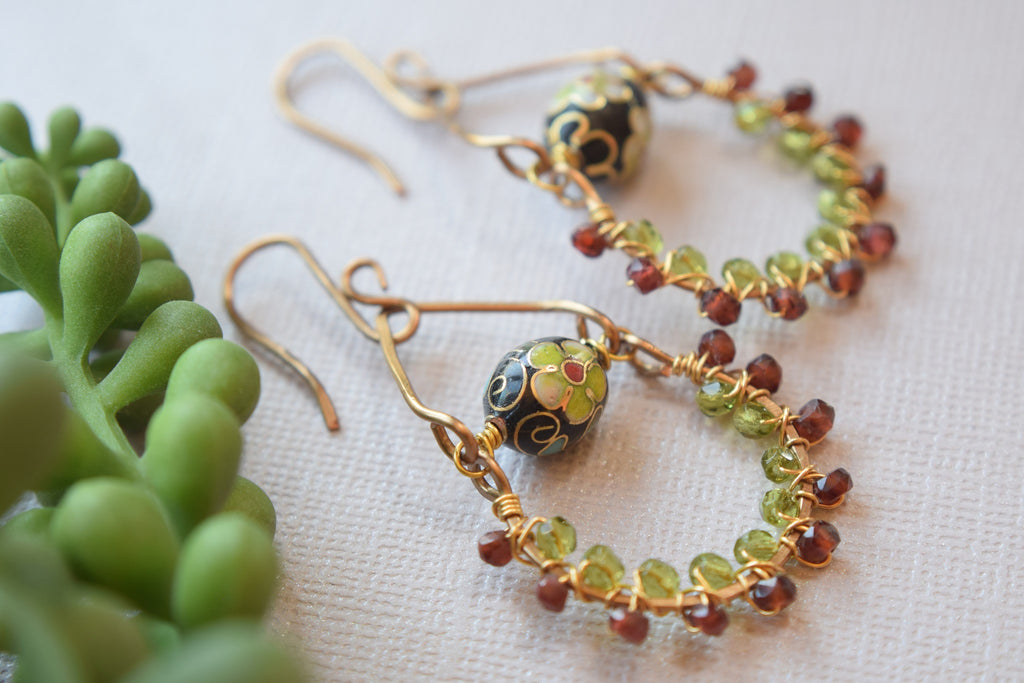Garnet and Peridot Earrings