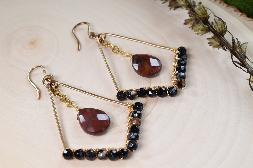 Jasper and Agate Hoop Earrings