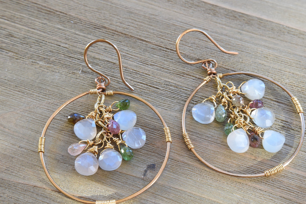Gray Moonstone and Tourmaline Earrings