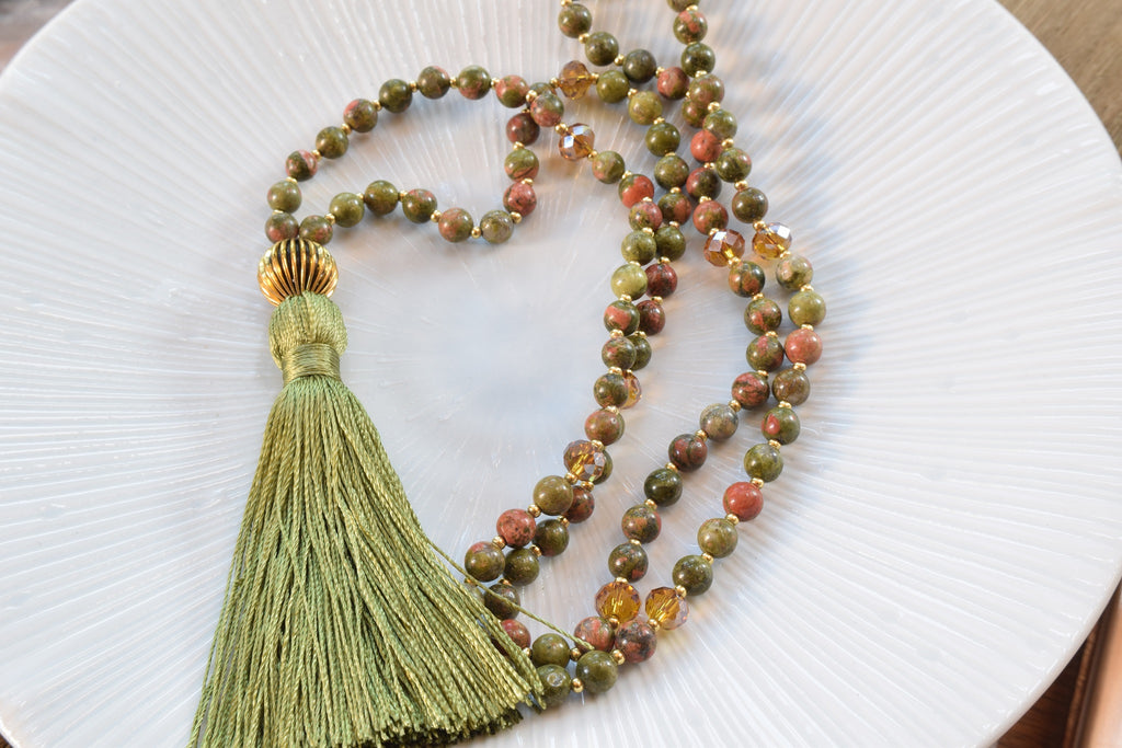 Unakite Tassel Necklace