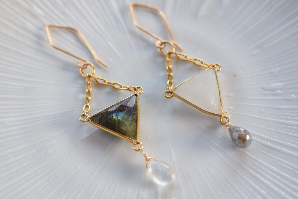 Labradorite and Rainbow Moonstone Earrings