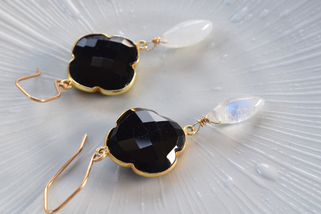 Black Onyx and Rainbow Moonstone Earrings