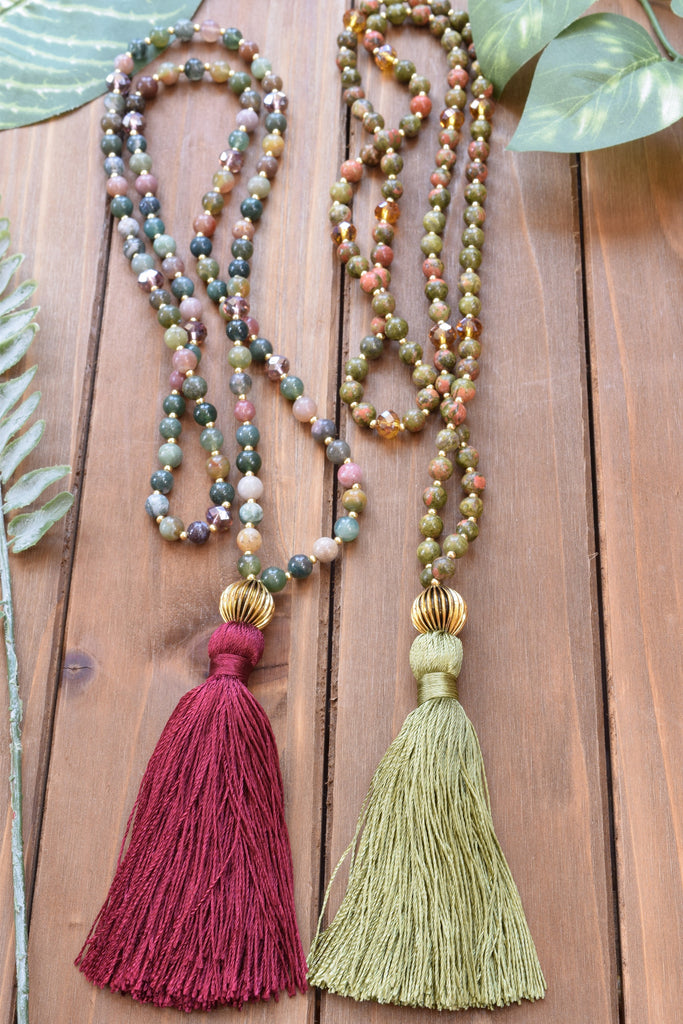 Ocean Jasper Tassel Necklace