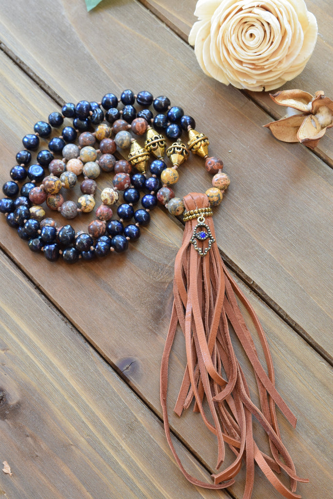 Jasper and Pearls Tassel Necklace