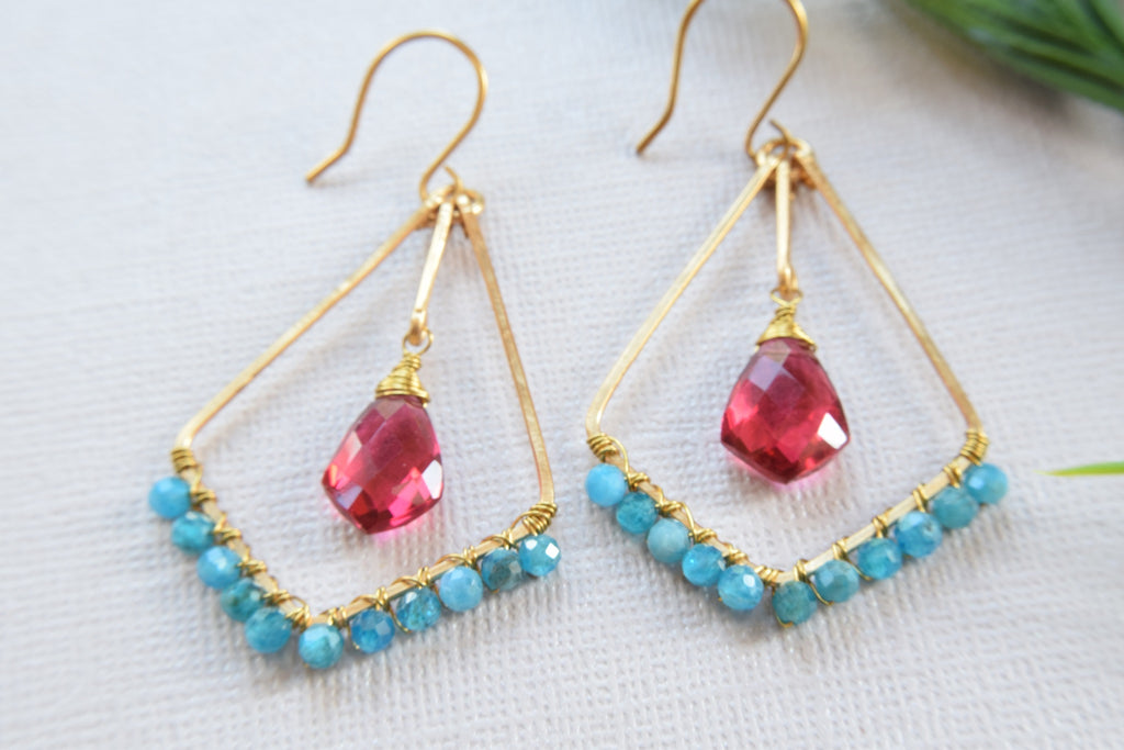 Apatite and Pink Quartz Earrings