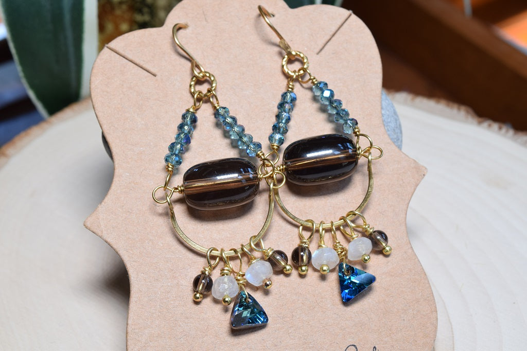 Topaz Quartz and Moonstone Earrings