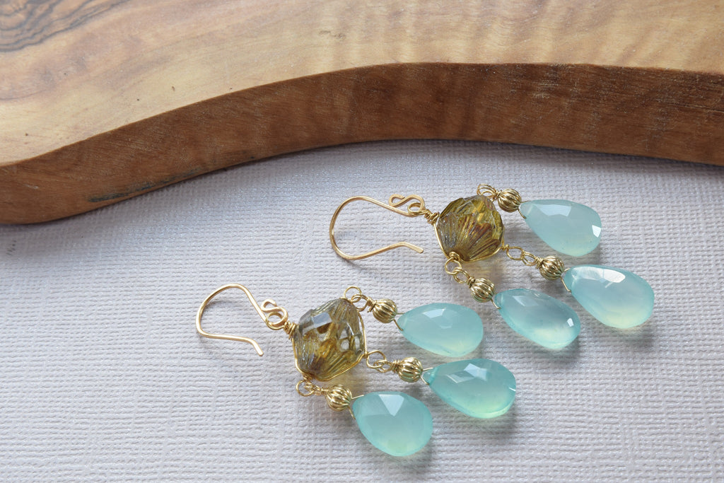 Aqua Blue Chalcedony and Czech Earrings
