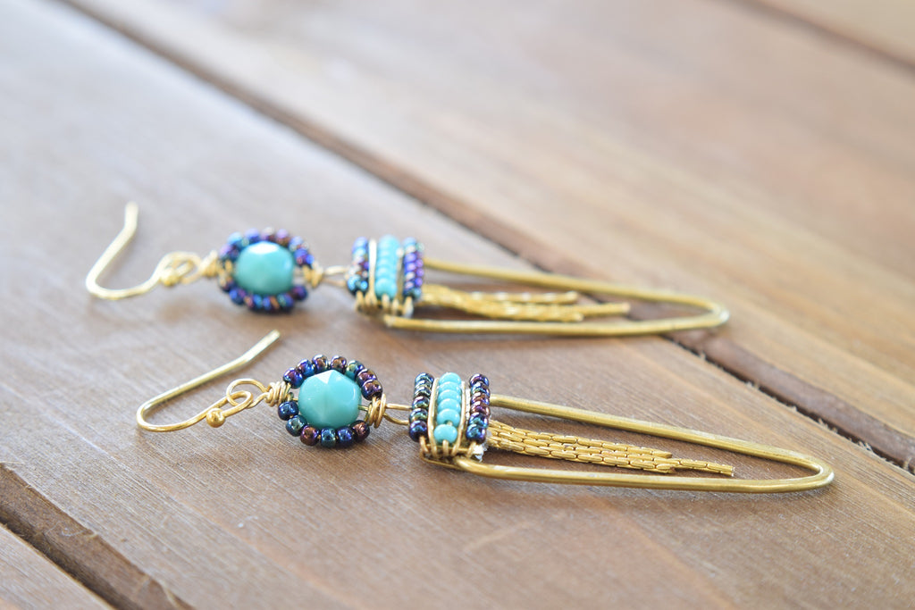 Turquoise Czech Beaded Earrings