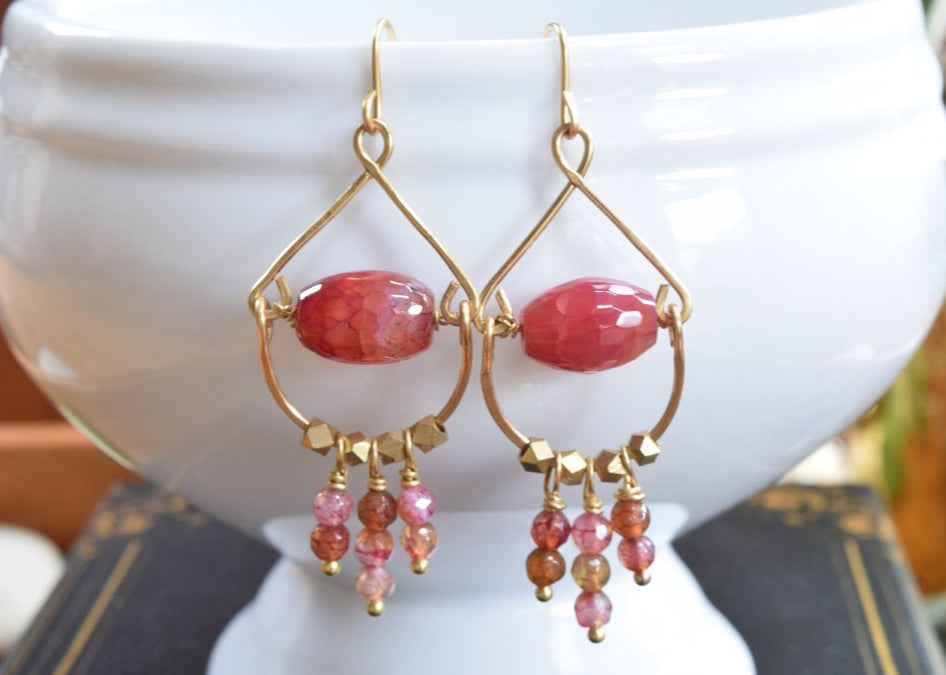 Strawberry Agate Chandelier Earrings