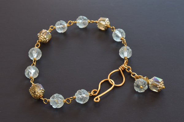 Aqua Quartz and Crystal Charm Bracelet