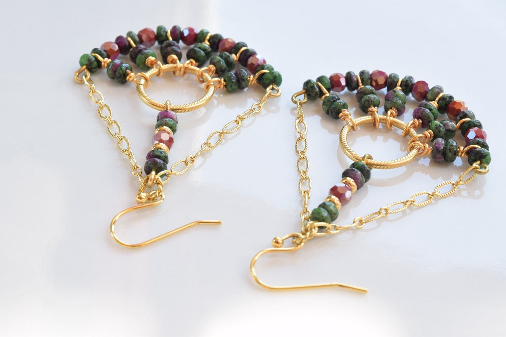 Green/Ruby Zoisite Chandelier Earrings