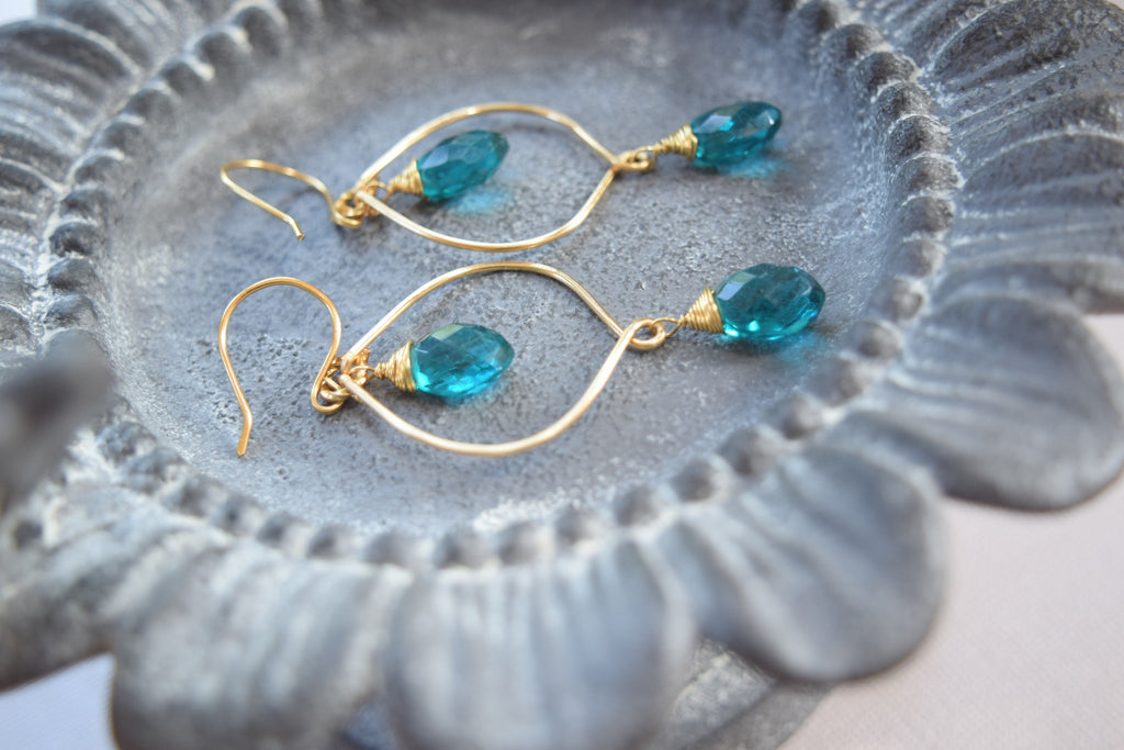 Teal Hydro Quartz Earrings