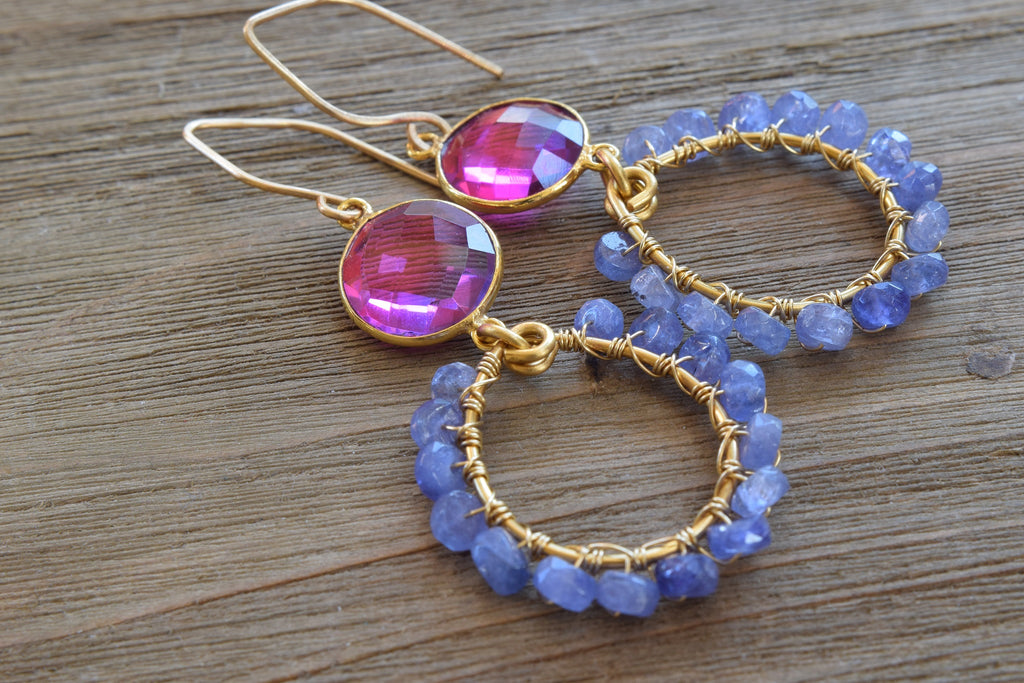 Tanzanite Hoop Earrings