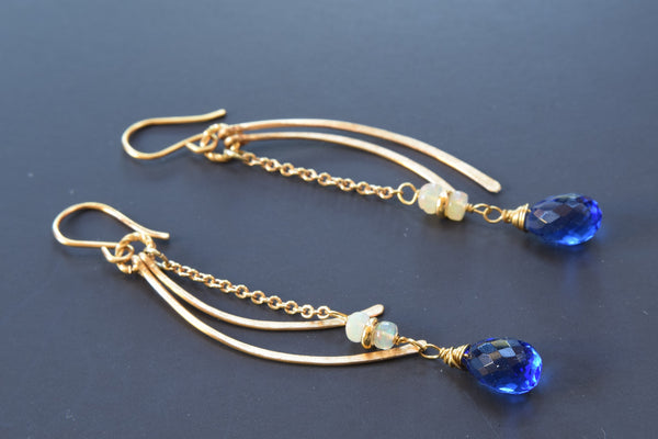 Iolite Quartz Earrings