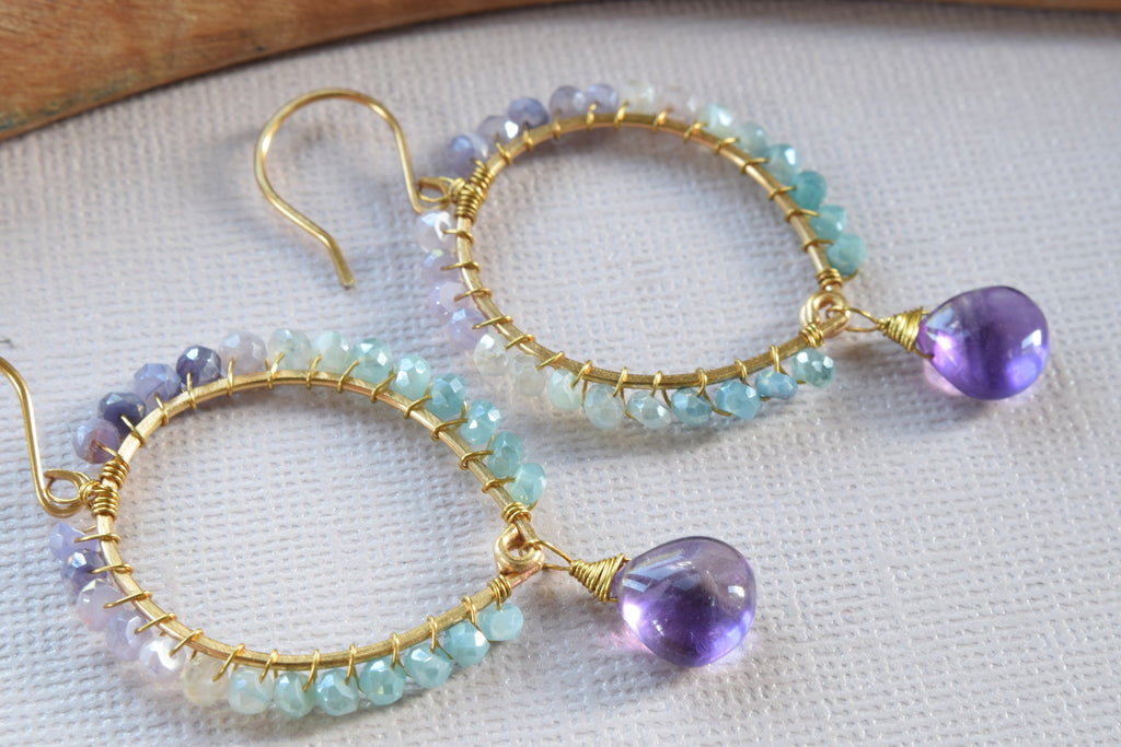 Amethyst and Mystic Moonstone Earrings