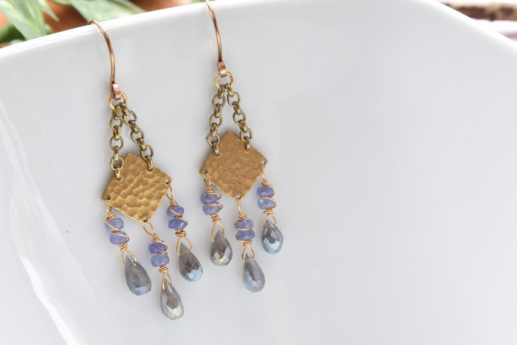 Tanzanite and Labradorite Earrings