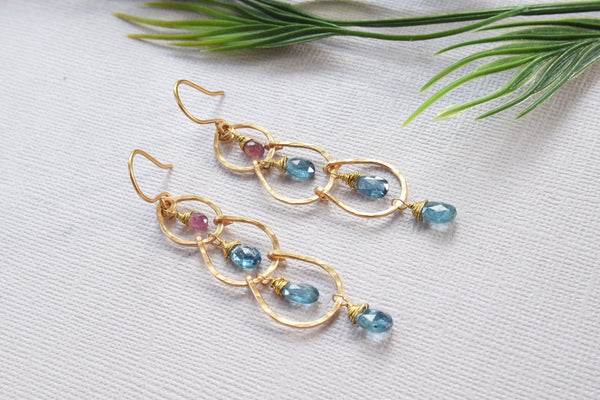 Blue Kyanite and Tourmaline Earrings