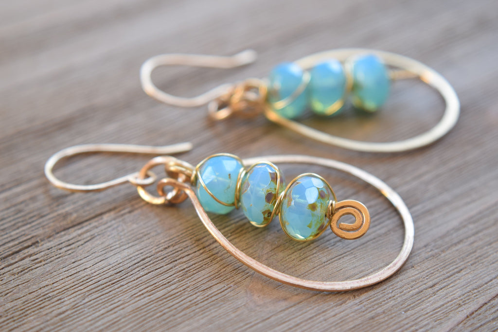 Blue Czech Hoop Earrings