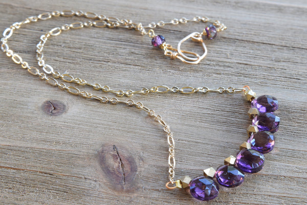Purple Quartz Bar Necklace