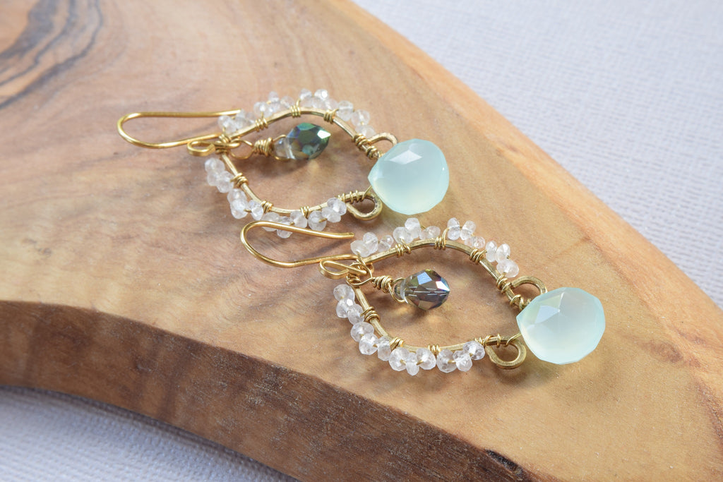 Aqua Chalcedony and Rose Quartz Earrings