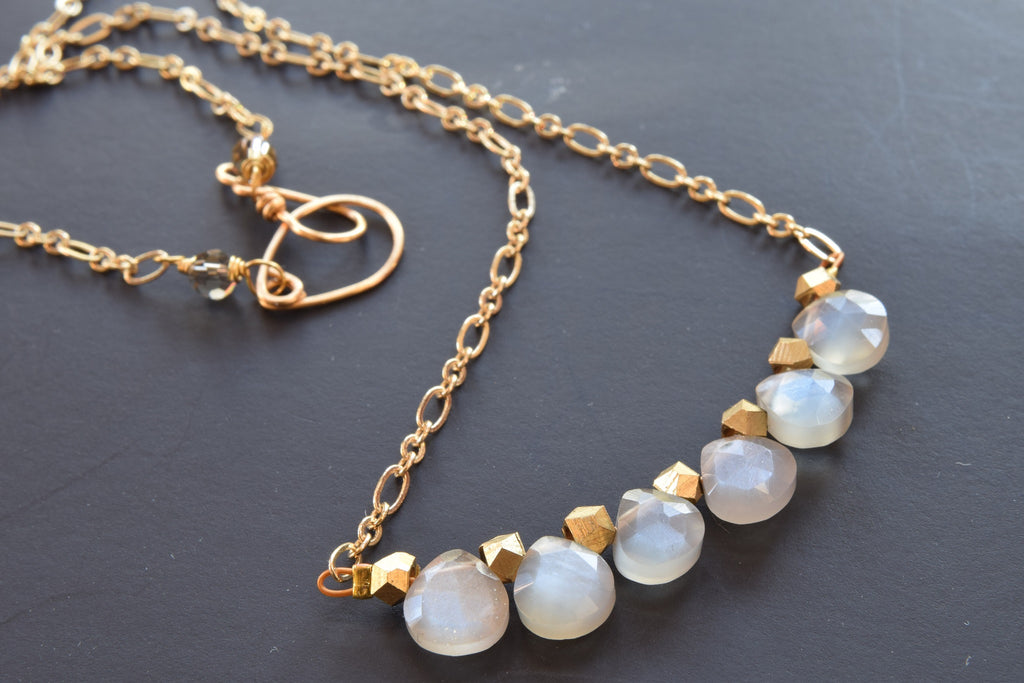 Gray Moonstone Bar Necklace